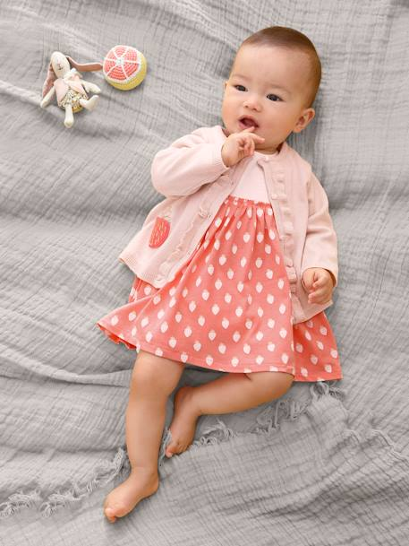 Baby Girls' Cardigan with Pockets, Strawberry Motif PINK LIGHT SOLID WITH DESIGN
