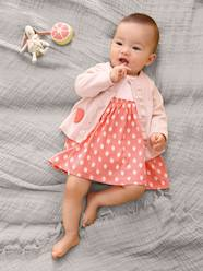 Baby-Dresses & Skirts-Dress with Strawberry Motif for Newborn Babies