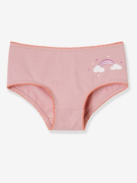 Girls' Pack of 3 Stretch Shorties PINK DARK 2 COLOR/MULTICOL OR