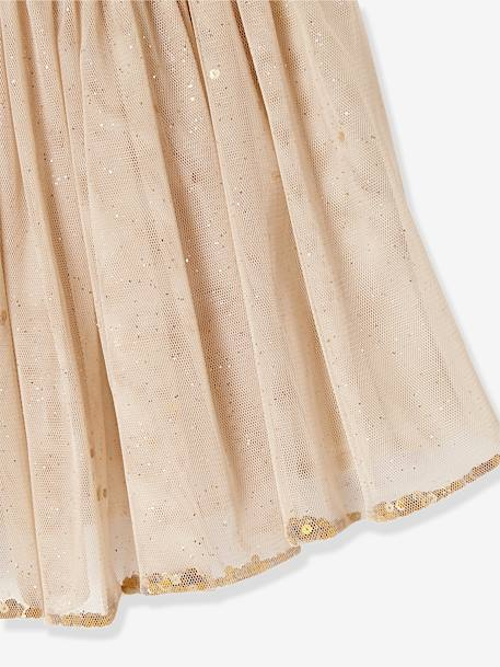 Girls Glitter Skirt PINK LIGHT ALL OVER PRINTED+Printed iridescent beige+Printed white
