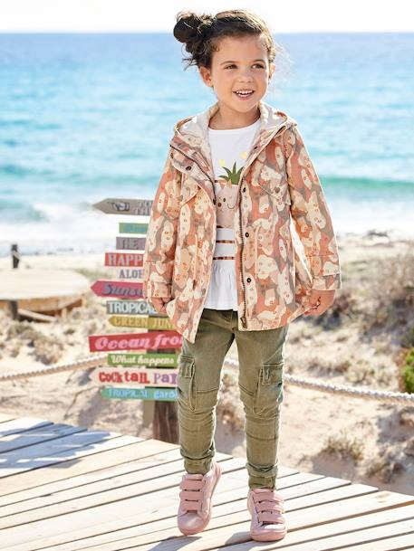 Girls' Hooded Parka BEIGE LIGHT ALL OVER PRINTED+GREEN DARK SOLID