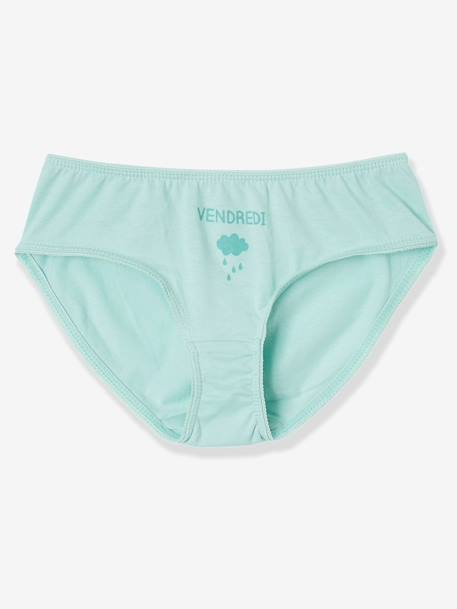 Girls' Pack of 7 Briefs for Every Day of the Week GREEN LIGHT SOLID WITH DESIGN+RED LIGHT 2 COLOR/MULTICOL R+WHITE LIGHT TWO COLOR/MULTICOL