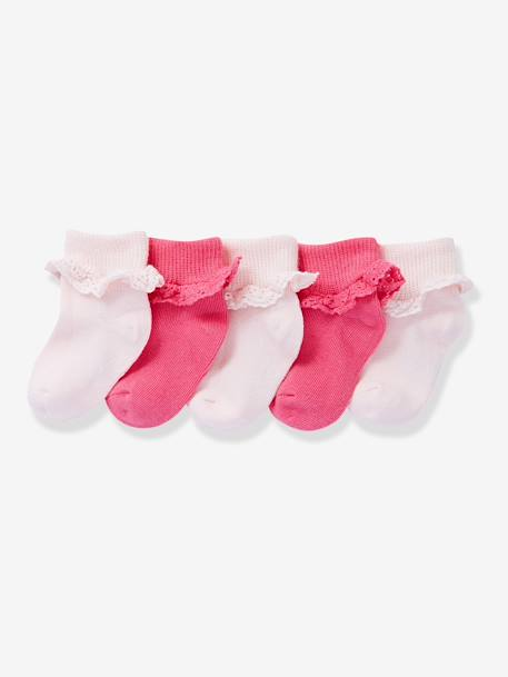 Baby Girls' Pack of 5 Pairs of Socks with Lace Trim Fuchsia pack+White pack