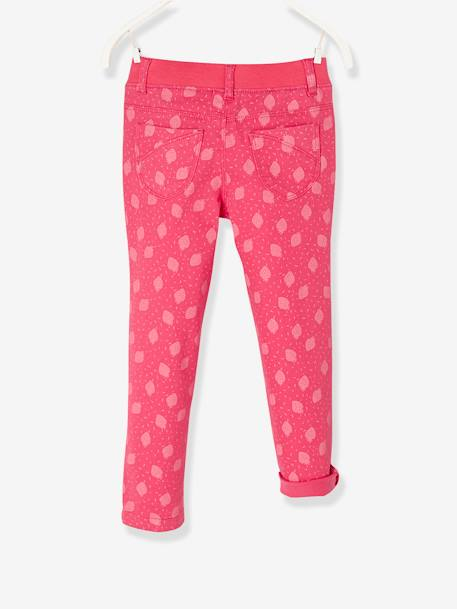MEDIUM Fit, Girls' Slim Fit Trousers GREEN LIGHT SOLID+RED LIGHT ALL OVER PRINTED
