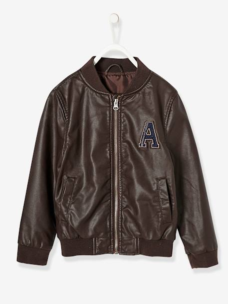 Boys' Faux Leather Jacket BROWN DARK SOLID WITH DESIGN