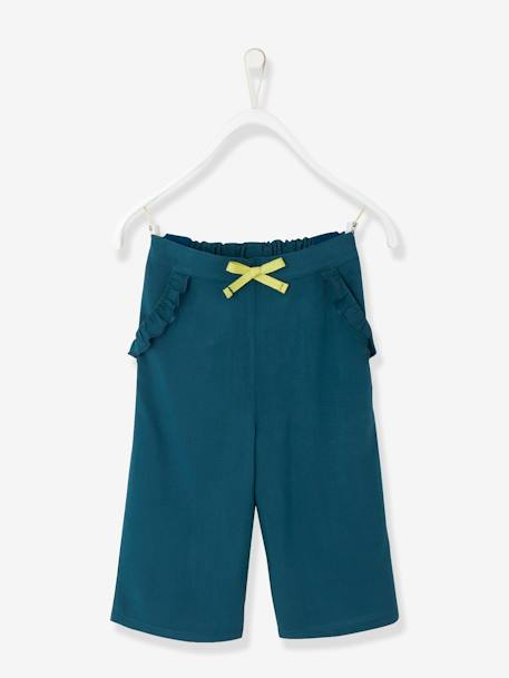 Girls' Loose-fitting, Straight Cut, Cropped Trousers BLUE MEDIUM SOLID