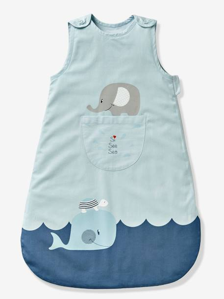 Sleeveless Baby Sleep Bag, Whale Theme BLUE LIGHT SOLID WITH DESIGN