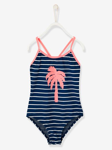 Girls' Swimsuit BLUE DARK STRIPED+GREEN LIGHT STRIPED+PINK LIGHT STRIPED