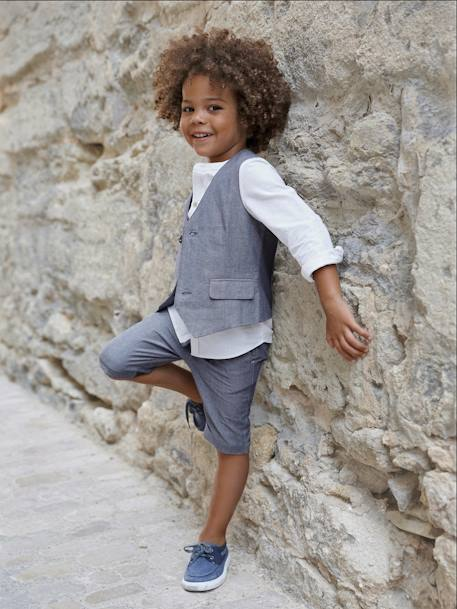 Boys' Mandarin Collar Shirt, in Linen and Cotton GREY LIGHT SOLID+WHITE LIGHT SOLID
