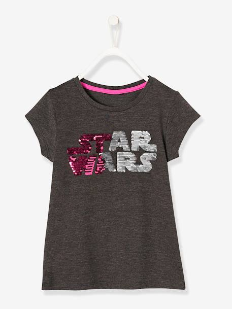 Girls' Star Wars® T-Shirt with Reversible Sequins GREY MEDIUM SOLID WITH DESIGN