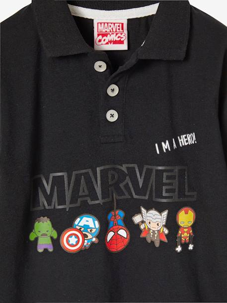 Boys' Long-Sleeved Polo Shirt, The Avengers® BLACK DARK SOLID
