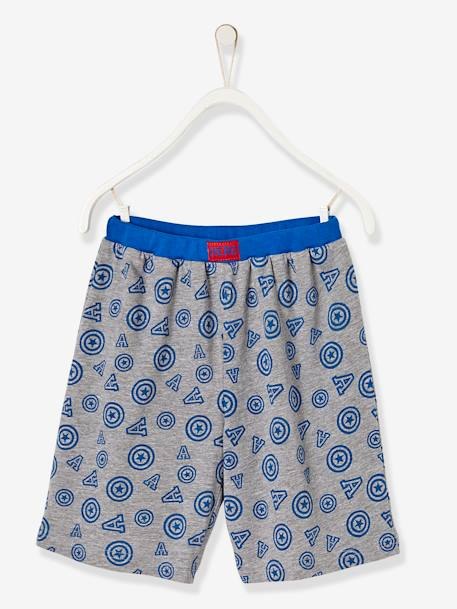 Boys' Printed Pyjamas with Shorts, The Avengers® BLUE MEDIUM ALL OVER PRINTED