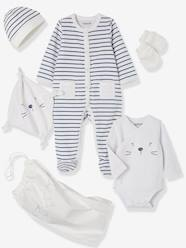 5-Piece Set for Newborns, Striped, with Cat and Bag