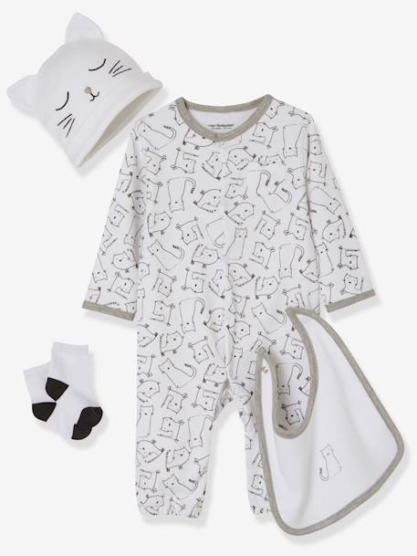 4-Piece Set for Newborn Babies WHITE LIGHT ALL OVER PRINTED
