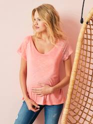 Maternity-T-shirts & Tops-Maternity Top with Lace on the Back