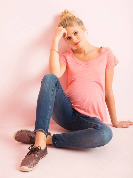 Maternity Top with Lace on the Back GREEN MEDIUM SOLID+PINK LIGHT SOLID+WHITE LIGHT SOLID