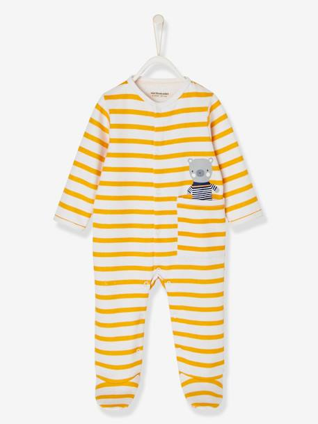 Babies' Fleece Pyjamas with Press-studs on the Front ORANGE LIGHT STRIPED