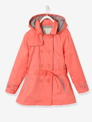 Girls-Girls' Water-Repellent Trenchcoat with Detachable Hood