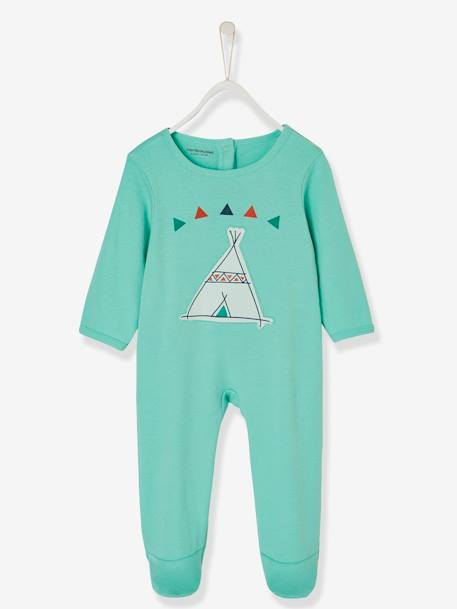 Babies' Cotton Pyjamas, Press-studs on the Back GREEN LIGHT SOLID WITH DESIGN