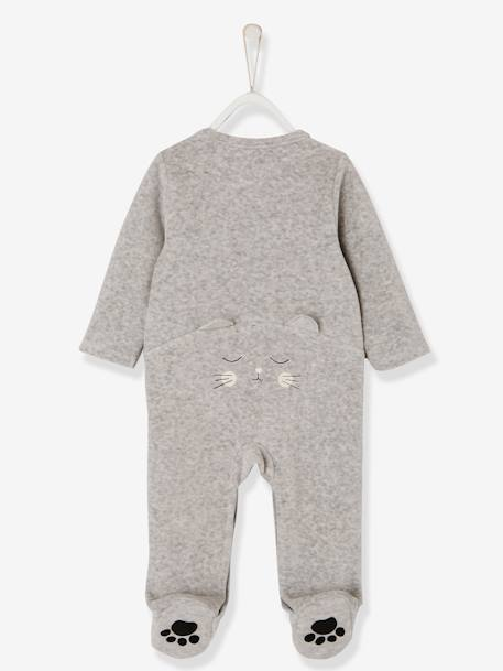 Babies' Velour Pyjamas, Organic Collection, with Decorative detail on the Back GREY LIGHT MIXED COLOR