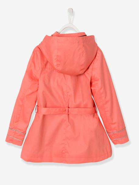 Girls' Water-Repellent Trenchcoat with Detachable Hood Light beige+PINK LIGHT SOLID