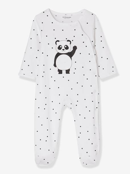 Babies' Pack of 2 Sets of Cotton Pyjamas, Press Studs on the Front GREY DARK TWO COLOR/MULTICOL