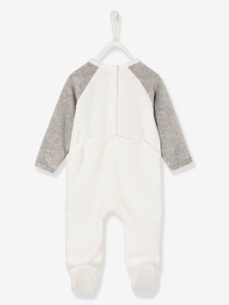 Babies' Velour Pyjamas, Press-studs on the Back WHITE LIGHT SOLID WITH DESIGN