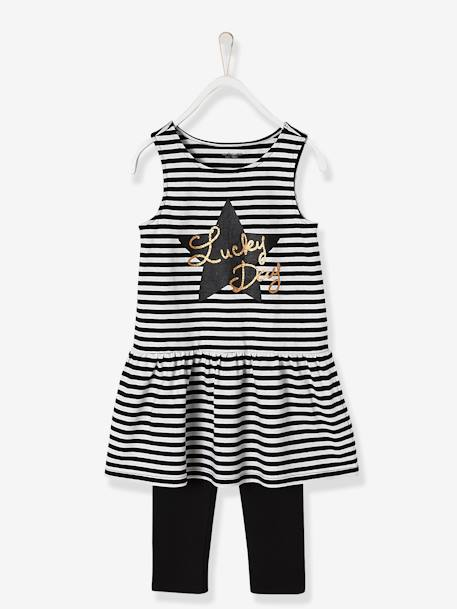 Girls' 3-Piece Outfit Black / white+PINK LIGHT STRIPED