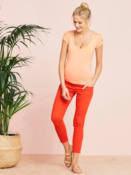 Maternity Loose-Fitting Top with Macramé on the Shoulders BEIGE LIGHT SOLID WITH DESIGN+ORANGE BRIGHT SOLID