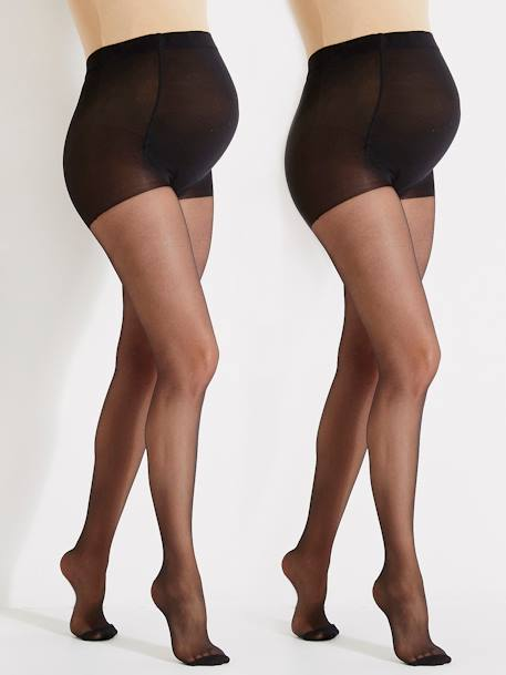 Pack of 2 Maternity Voile Tights 2 nude+Black + nude+BLACK DARK 2 COLOR/MULTICOL