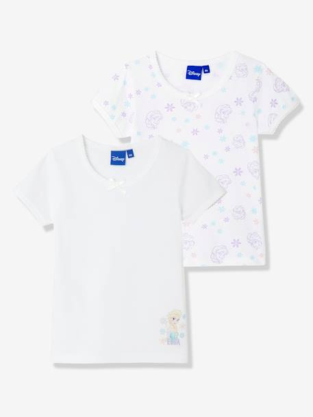 Girls' Pack of 2 T-Shirts, Frozen® WHITE LIGHT SOLID WITH DESIGN