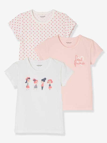 Girls' Pack of 3 Stretch T-Shirts PINK LIGHT 2 COLOR/MULTICOL R