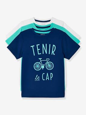 Boys' Pack of 3 Short-Sleeved T-Shirts blue dark two color/multicol