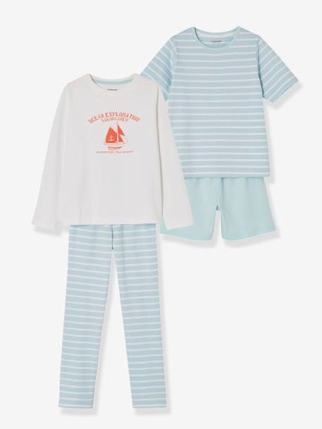Boys' Pack of Mix & Match Pyjamas with Shorts + Pyjamas with Trouser Bottoms BLUE LIGHT TWO COLOR/MULTICOL