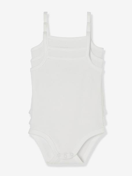 Baby Pack of 3 Pure Cotton Bodysuits with Thin Straps White