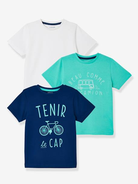 Boys' Pack of 3 Short-Sleeved T-Shirts BLUE DARK TWO COLOR/MULTICOL+GREEN DARK 2 COLOR/MULTICOLORR+GREEN LIGHT 2 COLOR/MULTICOLOR+ORANGE MEDIUM 2 COLOR/MULTICOL+RED BRIGHT 2 COLOR/MULTICOL