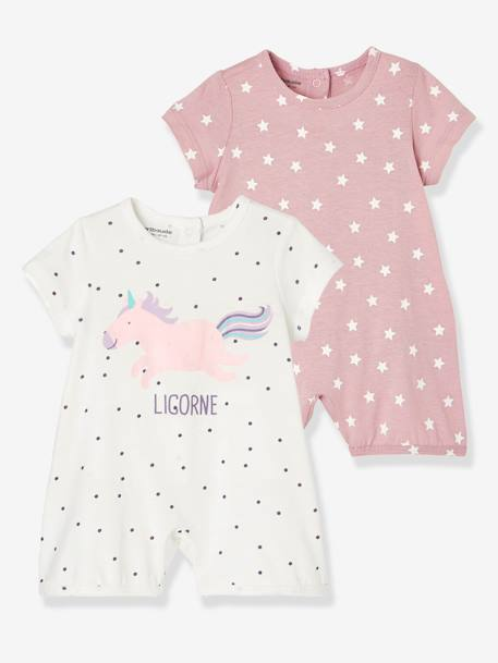 Babies' Pack of 2 Cotton Pyjamas, Press-studs on the Back PINK DARK 2 COLOR/MULTICOL OR+PINK LIGHT 2 COLOR/MULTICOL R