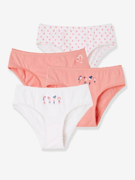Girls' Pack of 4 Stretch Briefs PINK LIGHT 2 COLOR/MULTICOL R
