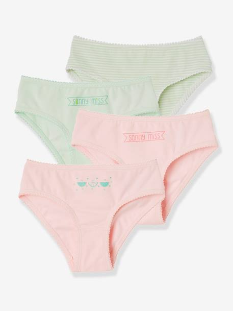 Girls' Pack of 4 Stretch Briefs GREEN LIGHT 2 COLOR/MULTICOLOR+YELLOW LIGHT 2 COLOR/MULTICOL