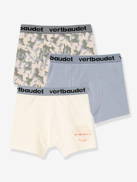 Boys' Pack of 3 Stretch Boxer Shorts BLUE MEDIUM TWO COLOR/MULTICOL+WHITE LIGHT TWO COLOR/MULTICOL