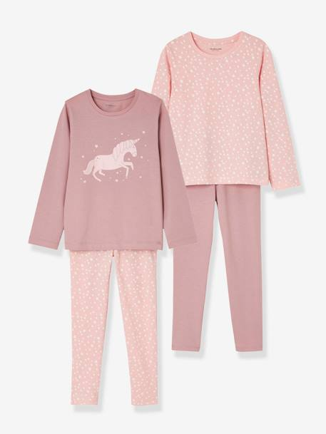 Girls' Pack of 2 Mix & Match Pyjamas PINK DARK 2 COLOR/MULTICOL OR