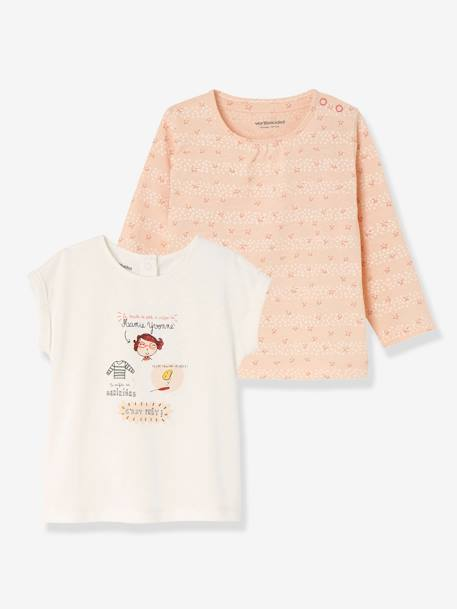 Pack of 2 Baby Girls' Tops, Short-Sleeved + Long-Sleeved PINK LIGHT 2 COLOR/MULTICOL R+PINK MEDIUM 2 COLOR/MULTICOL