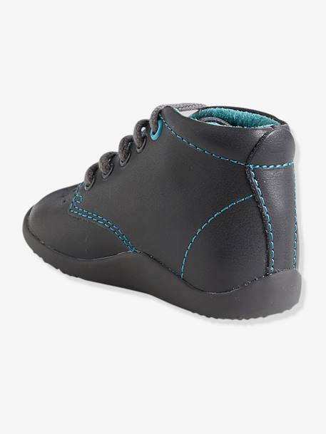 Boys' Leather Ankle Boots, Designed for First Steps Grey+Navy