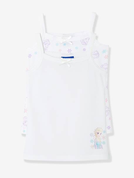 Girls' Pack of 2 Frozen® Tops WHITE LIGHT SOLID WITH DESIGN