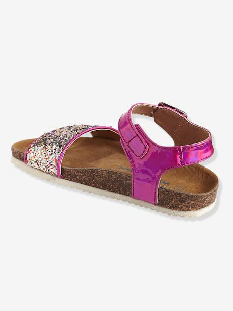 Girls' Sandals with Glitter PINK MEDIUM METALLIZED+WHITE LIGHT METALLIZED