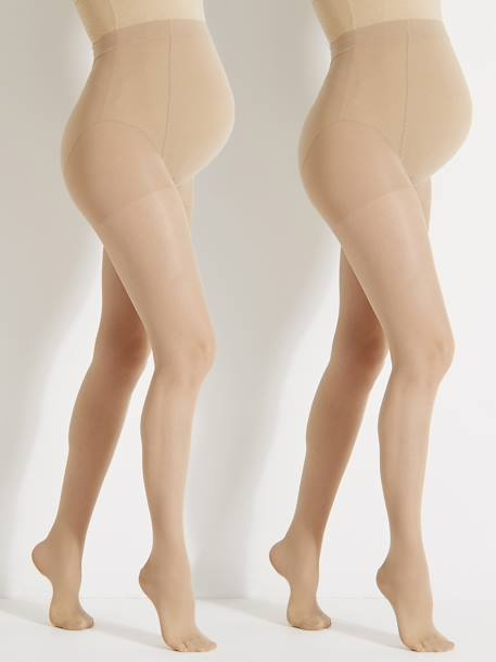 Pack of 2 Maternity Voile Tights 2 nude+Black + nude