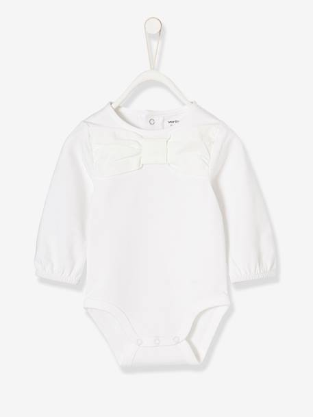 Occasion-wear Bodysuit for Newborn Babies WHITE LIGHT SOLID