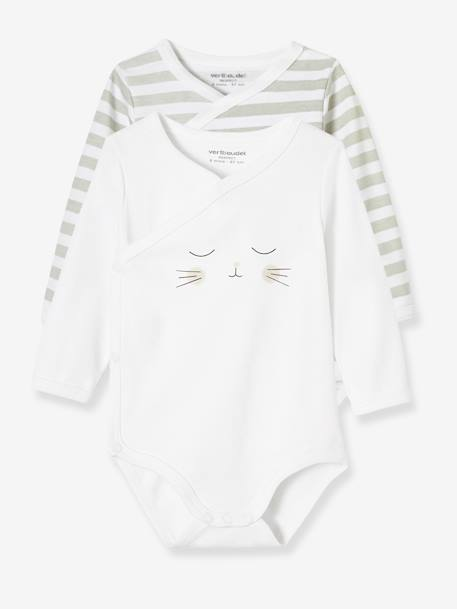Pack of 2 Newborn Bodysuits, Cat Motif, in Organic Cotton GREY LIGHT TWO COLOR/MULTICOL
