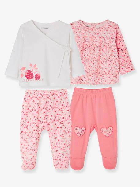 Pack of 2 Sets of 2-Piece Baby Pyjamas, in Cotton PINK MEDIUM 2 COLOR/MULTICOL