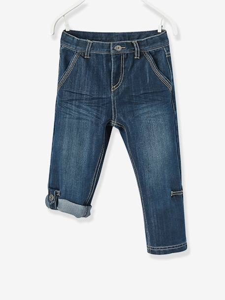 Boys' Indestructible Cropped Denim Trousers, Convertible into Bermuda Shorts BLUE DARK SOLID